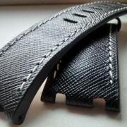 Audemars Piguet black saffiano white stitching