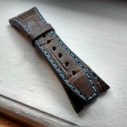 AP brown crocodile strap blue stitching
