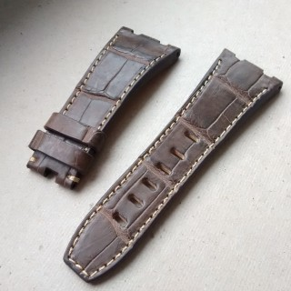 Audemars Piguet brown crocodile ecru stitching