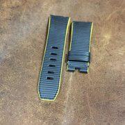 Black rubberized calf strap FC forged carbon diver AP Audemars Piguet