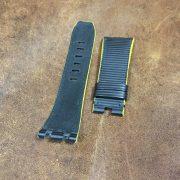 Black rubberized calf yellow edges strap AP