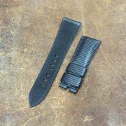 Rubberized calf strap for Panerai Pam alcantara lining