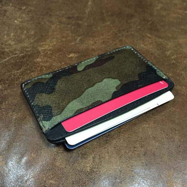 Camouflage saffiano leather card holder