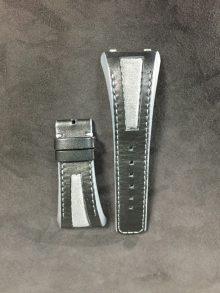 Linde Werdelin black calfskin strap with alcantara insert