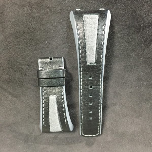 Black calfskin strap alcantara insertion Linde Werdelin