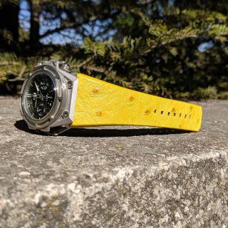 Yellow ostrich back strap Linde Werdelin